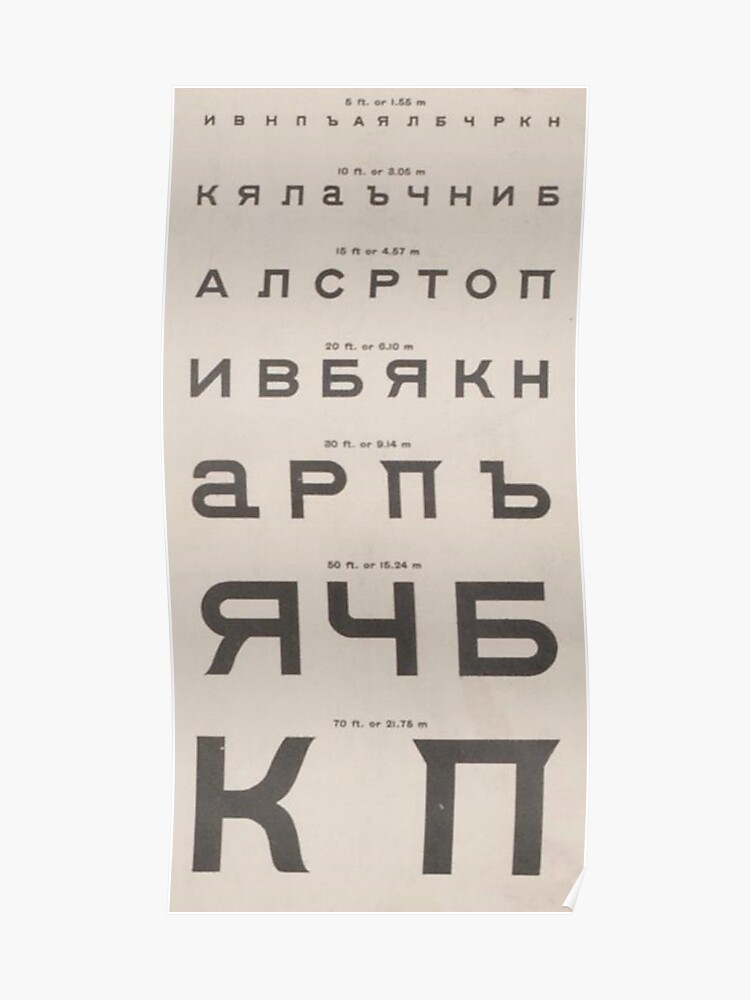 Vintage Cyrillic Script Eye Chart | Poster