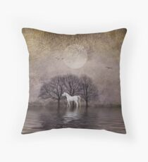 A White Horse in the Pond Throw Pillow