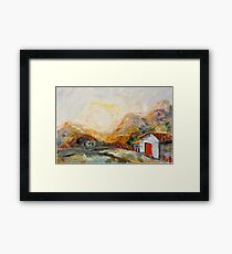 House with red door at Sunrise Framed Print