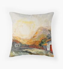 House with red door at Sunrise Throw Pillow