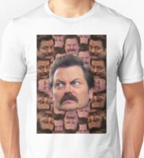 Ron Swanson Head Print T-Shirt