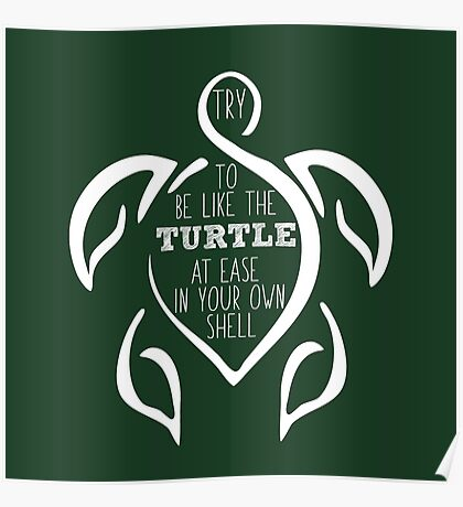 Try to be like the turtle, at ease in your own shell.  Poster