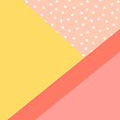 Geometric Daylight - Coral Pink Colorblock Pattern by blueskywhimsy
