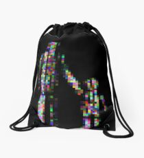 8 bit pixel pedestrians (color on black) Drawstring Bag