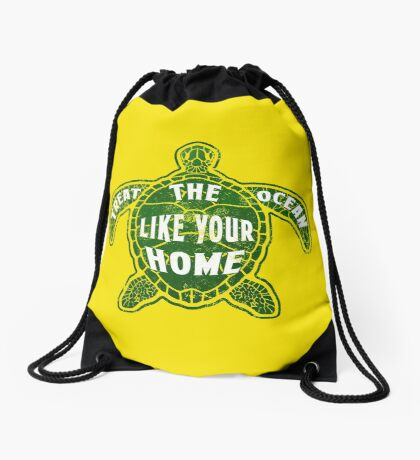 Treat the Ocean like your Home Drawstring Bag