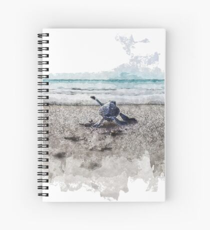 Baby Sea Turtle Waling - Watercolor  Spiral Notebook