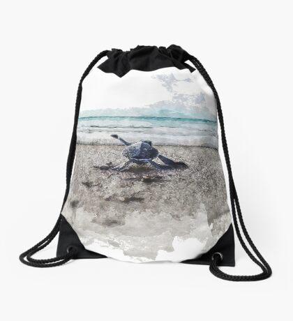 Baby Sea Turtle Waling - Watercolor  Drawstring Bag