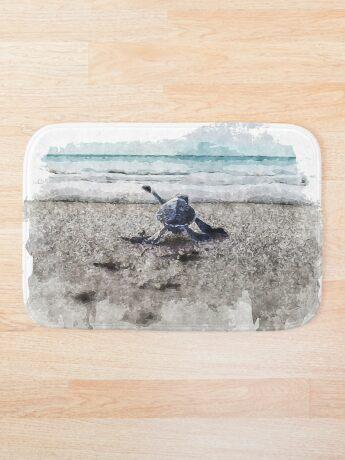 Baby Sea Turtle Waling - Watercolor  Bath Mat