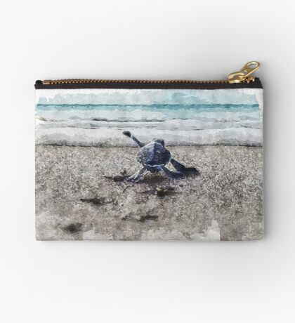 Baby Sea Turtle Waling - Watercolor  Zipper Pouch