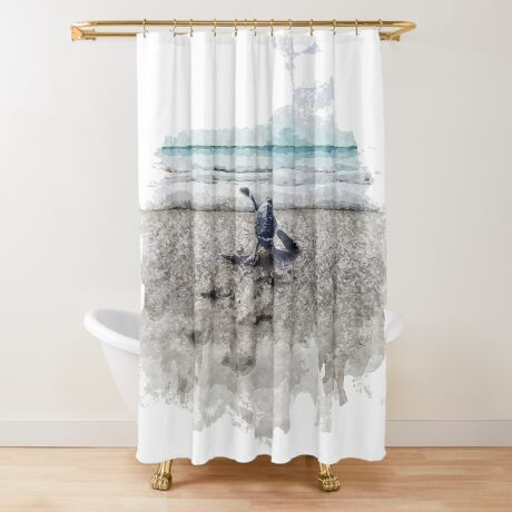 Baby Sea Turtle Waling - Watercolor  Shower Curtain