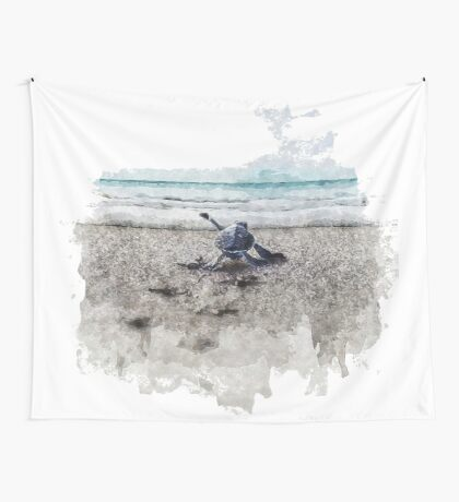 Baby Sea Turtle Waling - Watercolor  Wall Tapestry