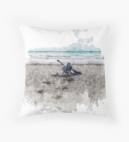 Baby Sea Turtle Waling - Watercolor  Floor Pillow