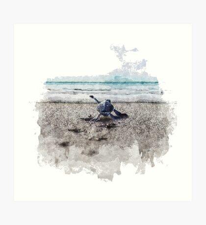 Baby Sea Turtle Waling - Watercolor  Art Print
