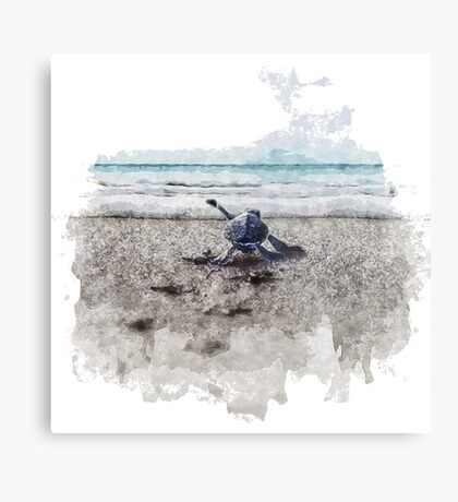 Baby Sea Turtle Waling - Watercolor  Metal Print
