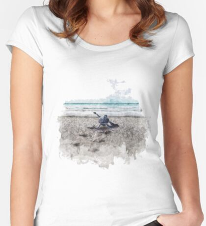 Baby Sea Turtle Waling - Watercolor  Fitted Scoop T-Shirt