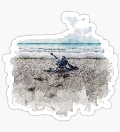 Baby Sea Turtle Waling - Watercolor  Sticker