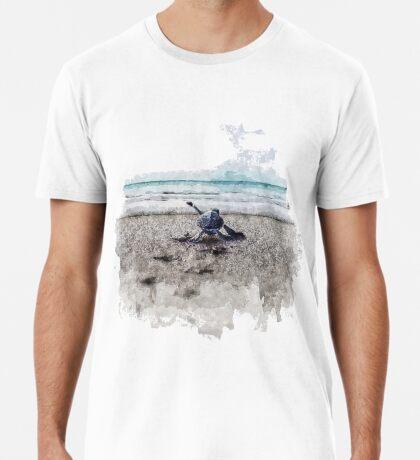 Baby Sea Turtle Waling - Watercolor  Premium T-Shirt