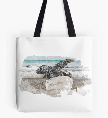 Baby Sea Turtle Hatching - Watercolor Tote Bag