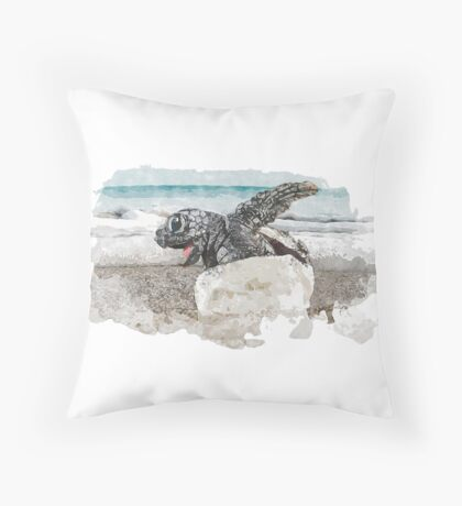Baby Sea Turtle Hatching - Watercolor Throw Pillow