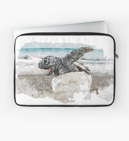 Baby Sea Turtle Hatching - Watercolor Laptop Sleeve
