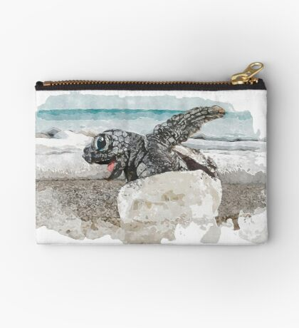 Baby Sea Turtle Hatching - Watercolor Zipper Pouch