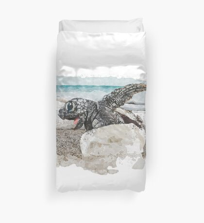Baby Sea Turtle Hatching - Watercolor Duvet Cover