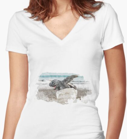 Baby Sea Turtle Hatching - Watercolor Fitted V-Neck T-Shirt