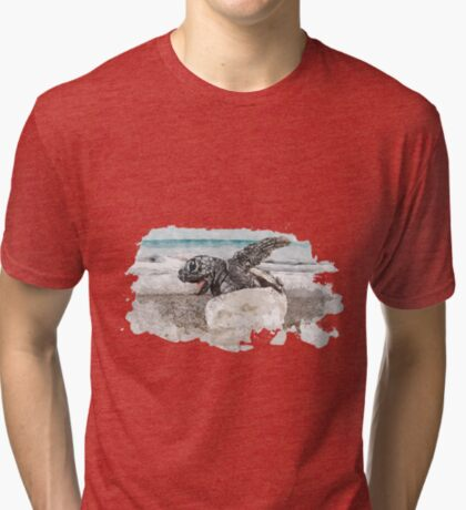 Baby Sea Turtle Hatching - Watercolor Tri-blend T-Shirt