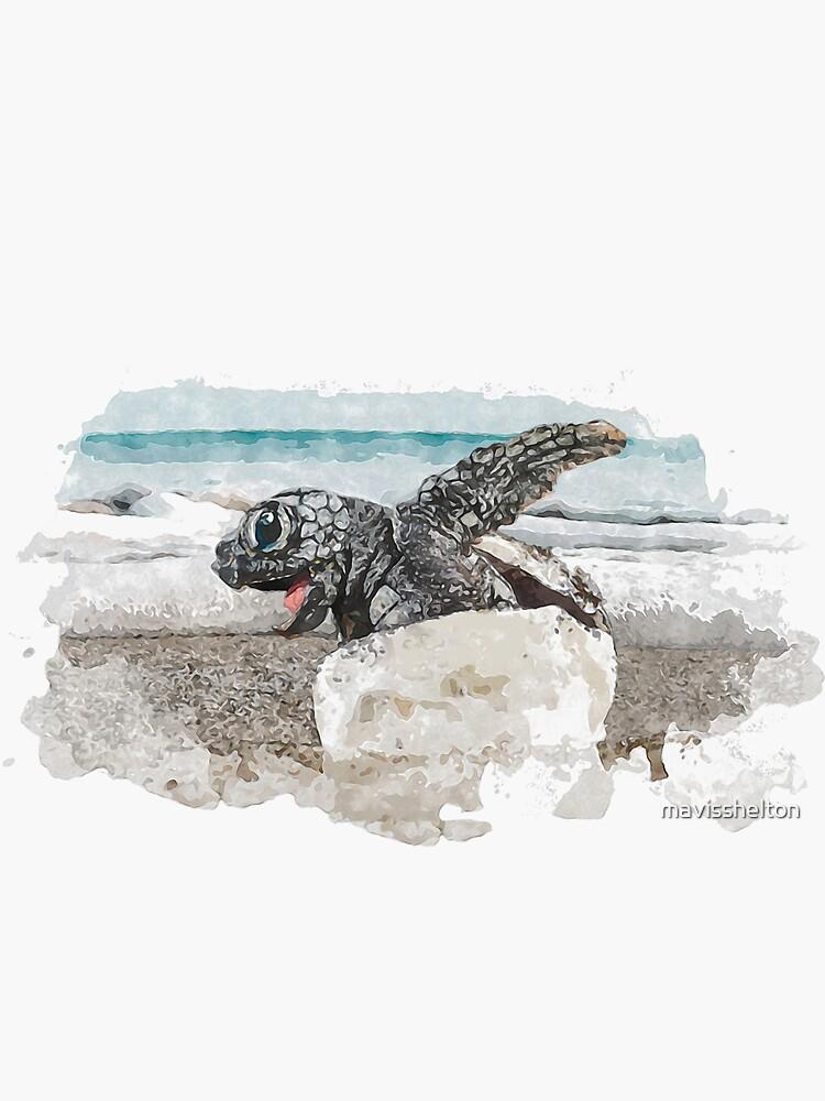 Baby Sea Turtle Hatching - Watercolor by mavisshelton