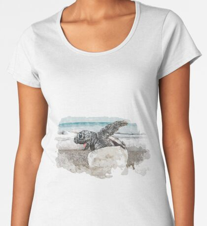 Baby Sea Turtle Hatching - Watercolor Premium Scoop T-Shirt