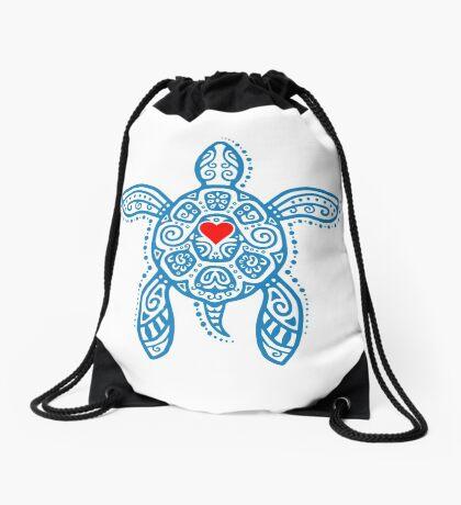 Sea Turtle Hope - Tribal Drawstring Bag