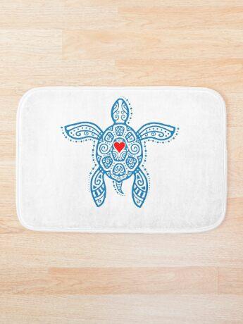Sea Turtle Hope - Tribal Bath Mat