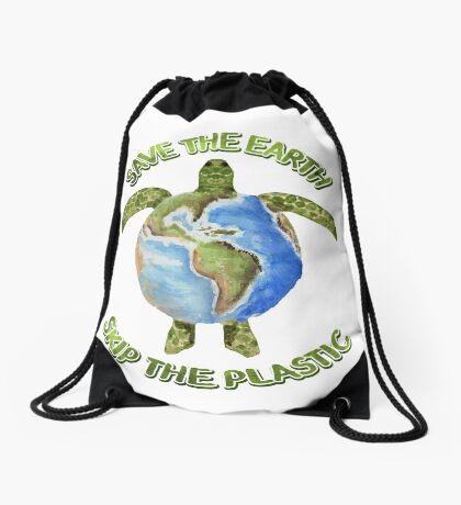 Save the Earth Skip the Plastic Drawstring Bag