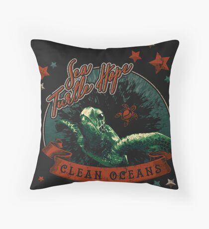 Sea Turtle Hope - Vintage Pop Throw Pillow