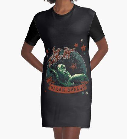 Sea Turtle Hope - Vintage Pop Graphic T-Shirt Dress