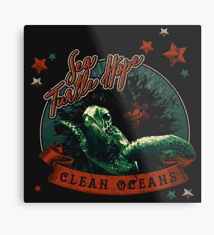 Sea Turtle Hope - Vintage Pop Metal Print
