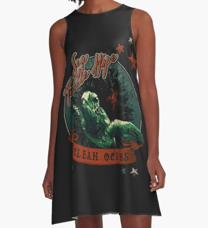 Sea Turtle Hope - Vintage Pop A-Line Dress