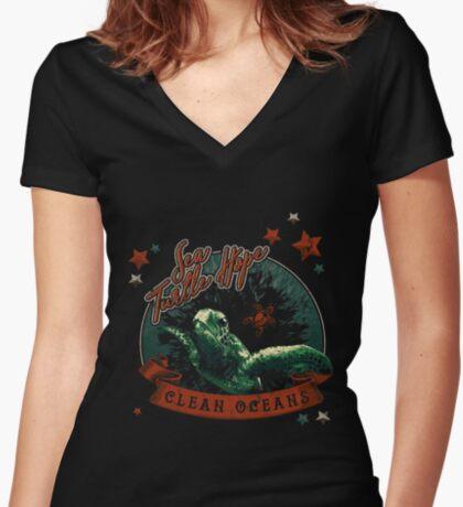 Sea Turtle Hope - Vintage Pop Fitted V-Neck T-Shirt
