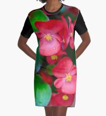 Pink Tropical Floral Graphic T-Shirt Dress