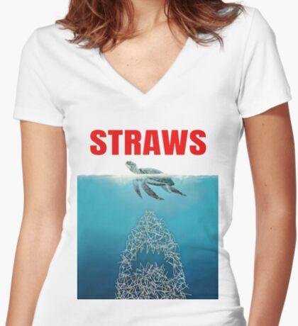 Straws - Vintage Fitted V-Neck T-Shirt