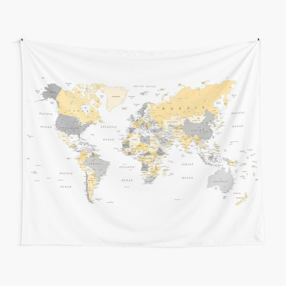 Map of the World Yellow and Grey Wall Tapestry