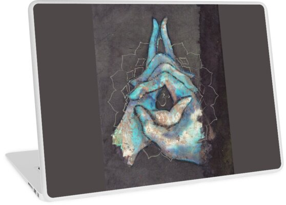 'crown chakra mudra ' Laptop Skin by Silk Alchemy