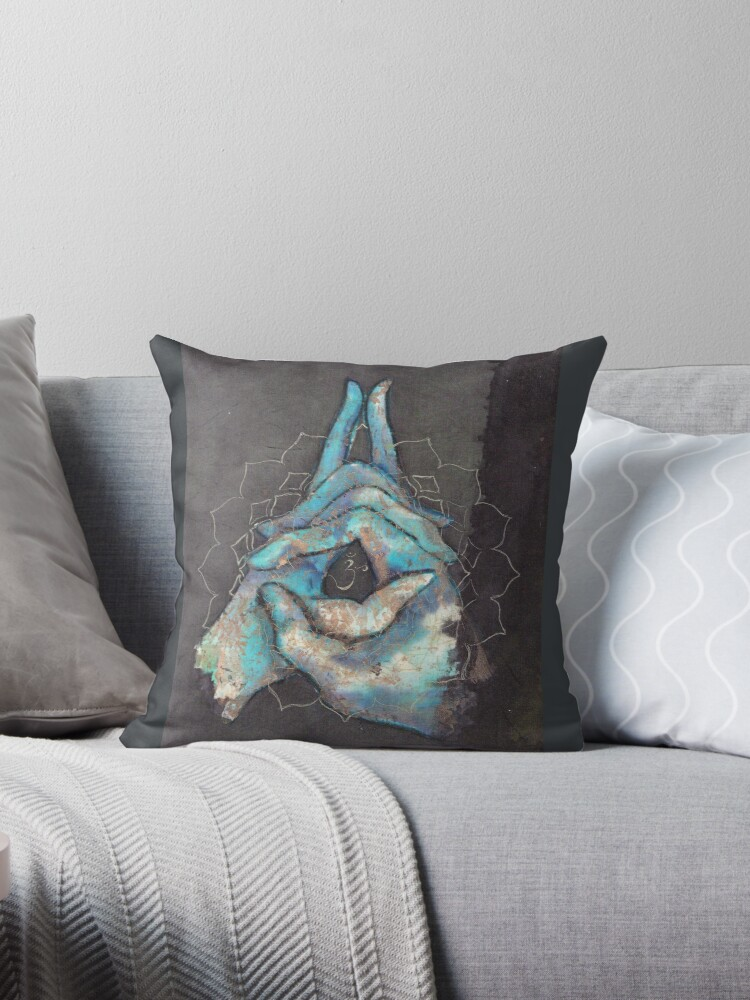 'crown chakra mudra ' Throw Pillow by Silk Alchemy