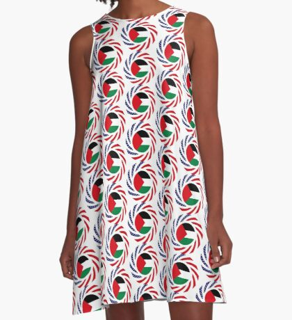Palestinian American Multinational Patriot Flag Series A-Line Dress