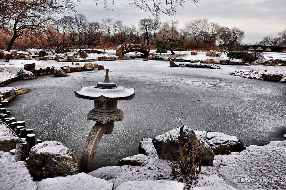 Rankei Lantern, Osaka Garden, Winter by James Watkins