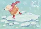 """Polar Bear skating – """"Let It Snow"""" by kimfleming"""