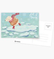 "Polar Bear skating – ""Let It Snow"" Postcards"