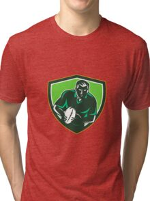 Rugby Player Running Passing Ball Crest Retro Tri-blend T-Shirt