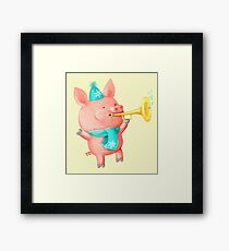 Cheering Cute Pig for Christmas Framed Print