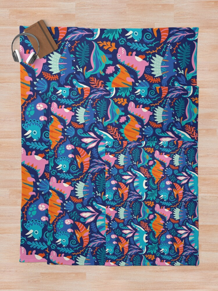 Alternate view of Dino team 1 Throw Blanket